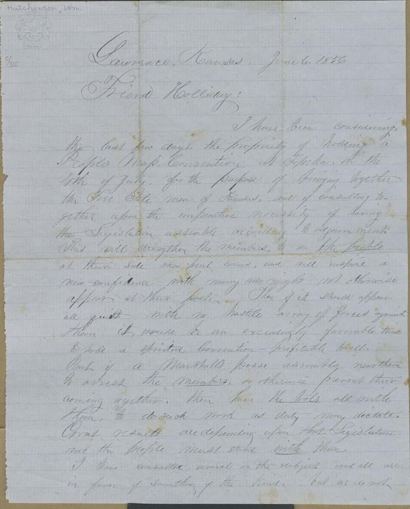 William B. Hutchinson to Cyrus Kurtz Holliday - p. 1