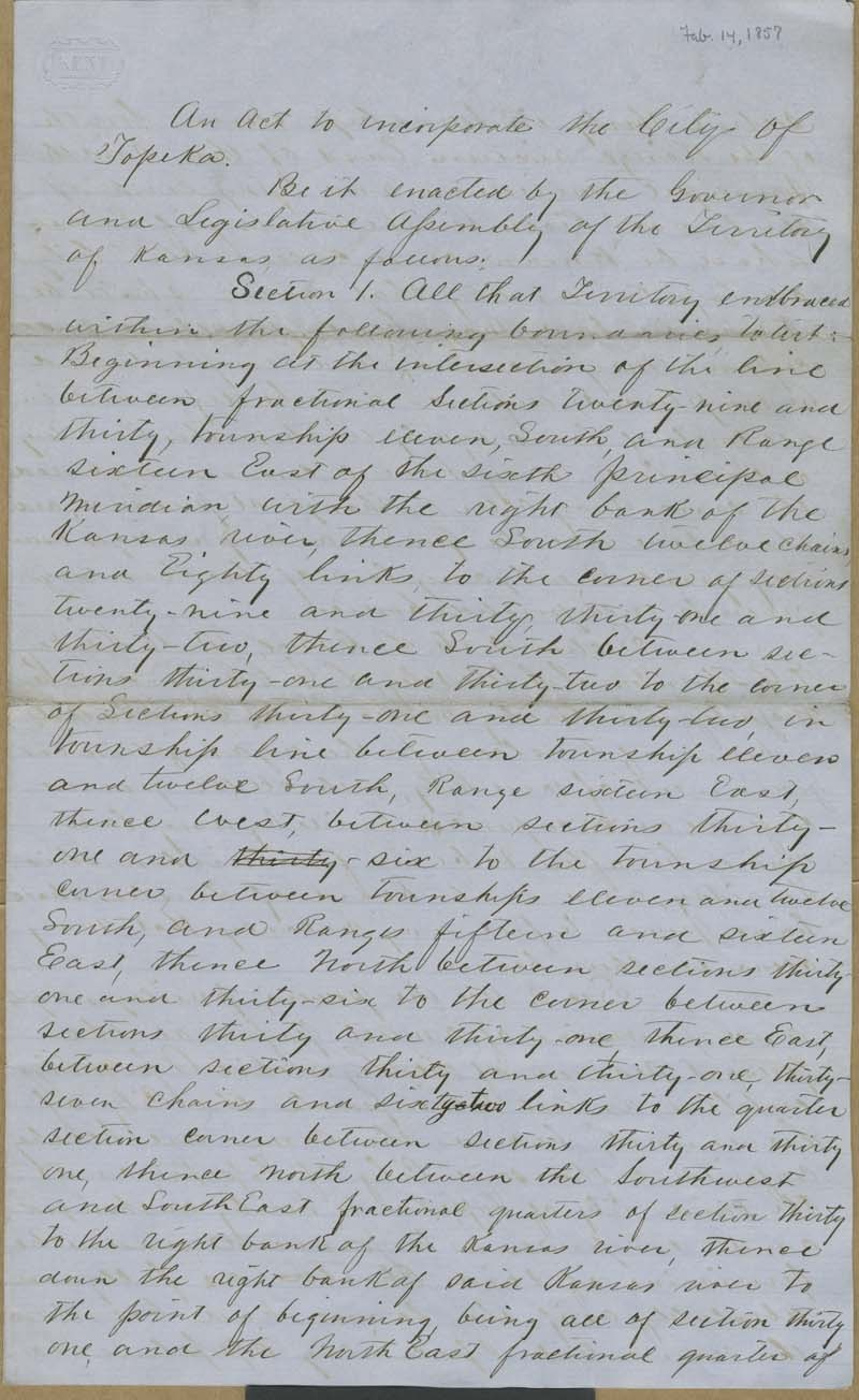 Topeka, Kansas Territory, act to incorporate - p. 1