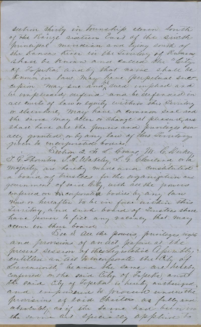 Topeka, Kansas Territory, act to incorporate - p. 2