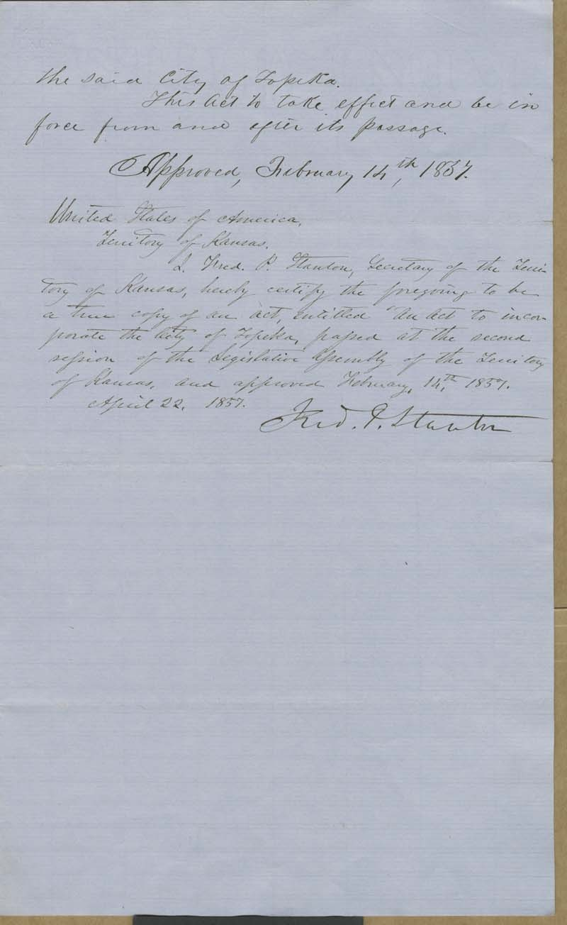 Topeka, Kansas Territory, act to incorporate - p. 3