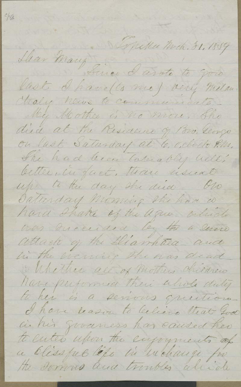 Cyrus Kurtz Holliday to Mary Dillon Holliday - p. 1