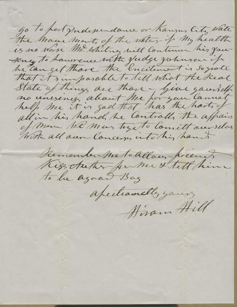 Hiram Hill to Dear Wife - p. 2