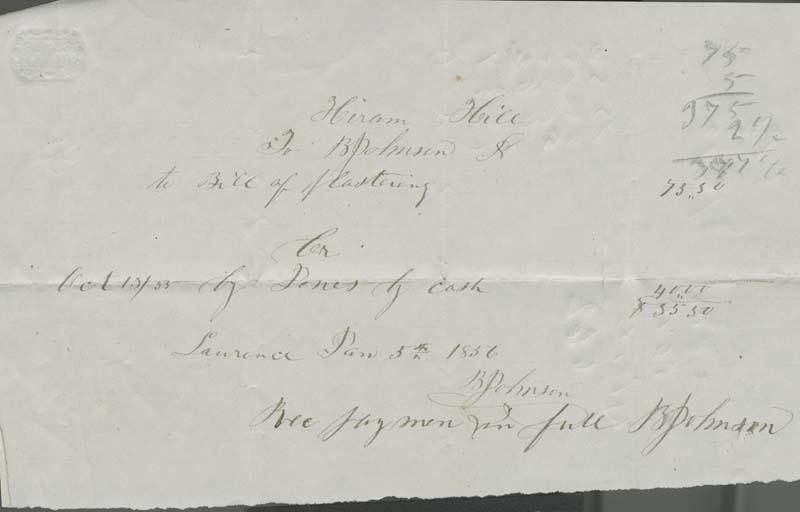 Hiram Hill to B. Johnson, bill of plastering