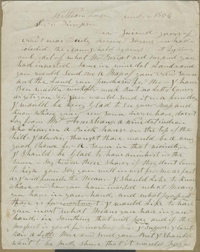 Hiram Hill to Samuel Newell Simpson - p. 1