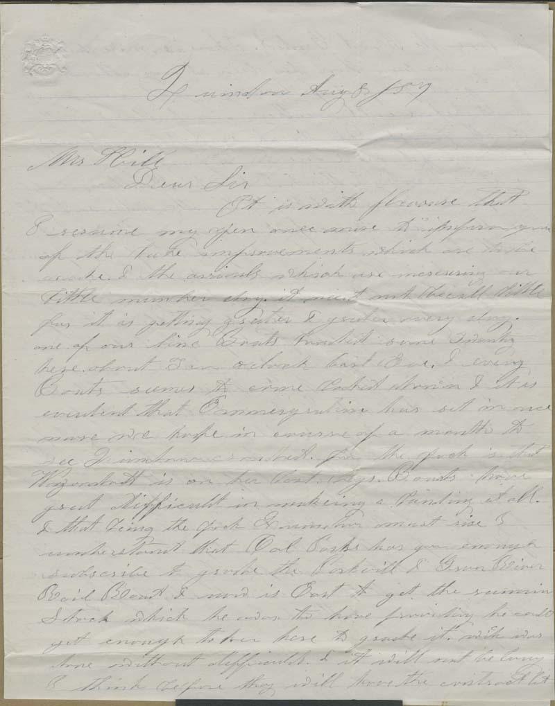 Albert C. Morton to Hiram Hill - p. 1