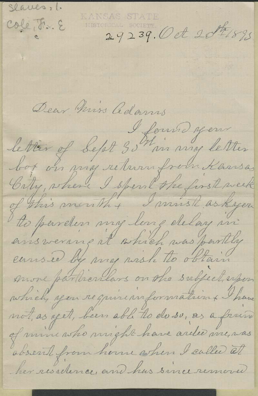 Fannie E. Cole to Zu Adams - p. 1