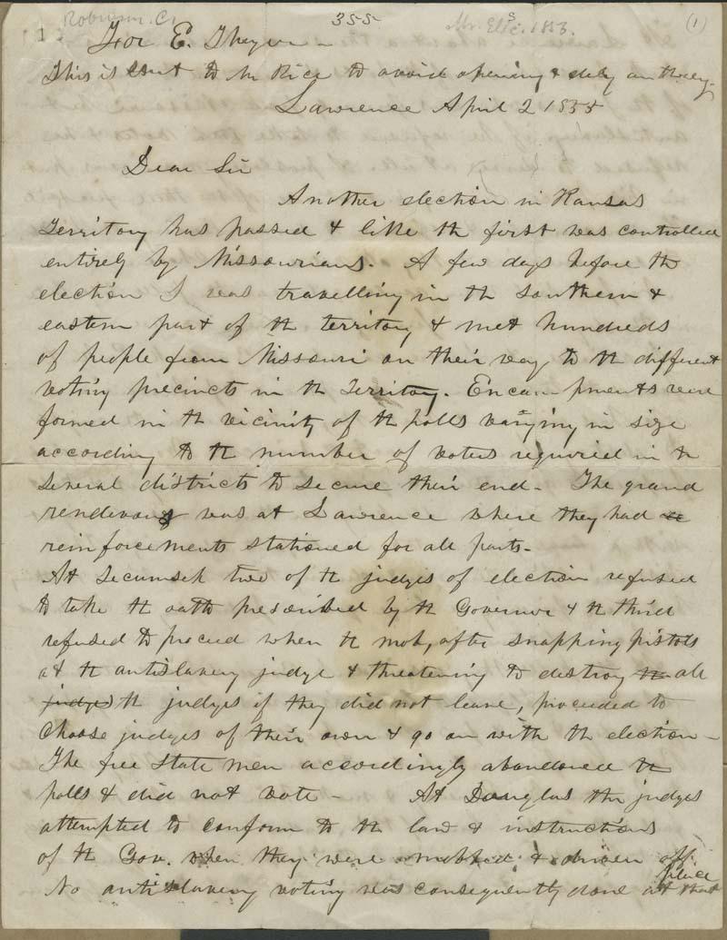 Charles Robinson to Eli Thayer - p. 1