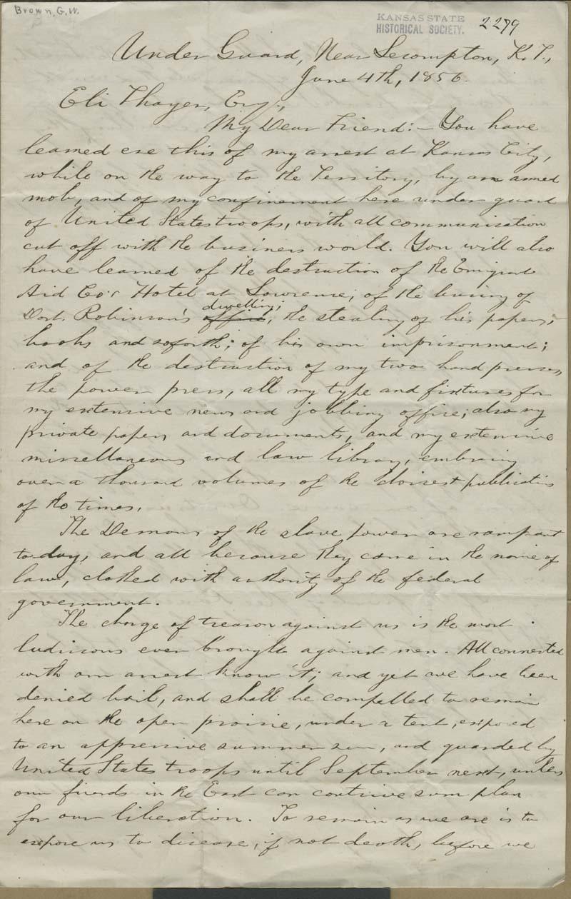 George Washington Brown to Eli Thayer - p. 1