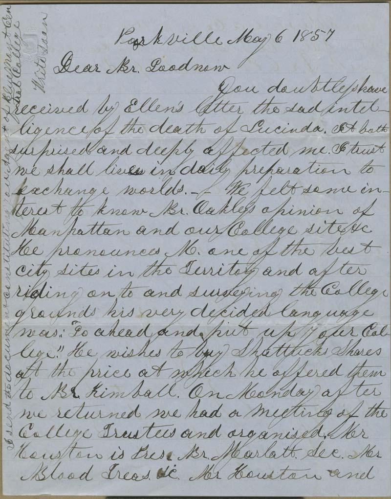 Joseph Denison to Isaac Tichenor Goodnow - p. 1