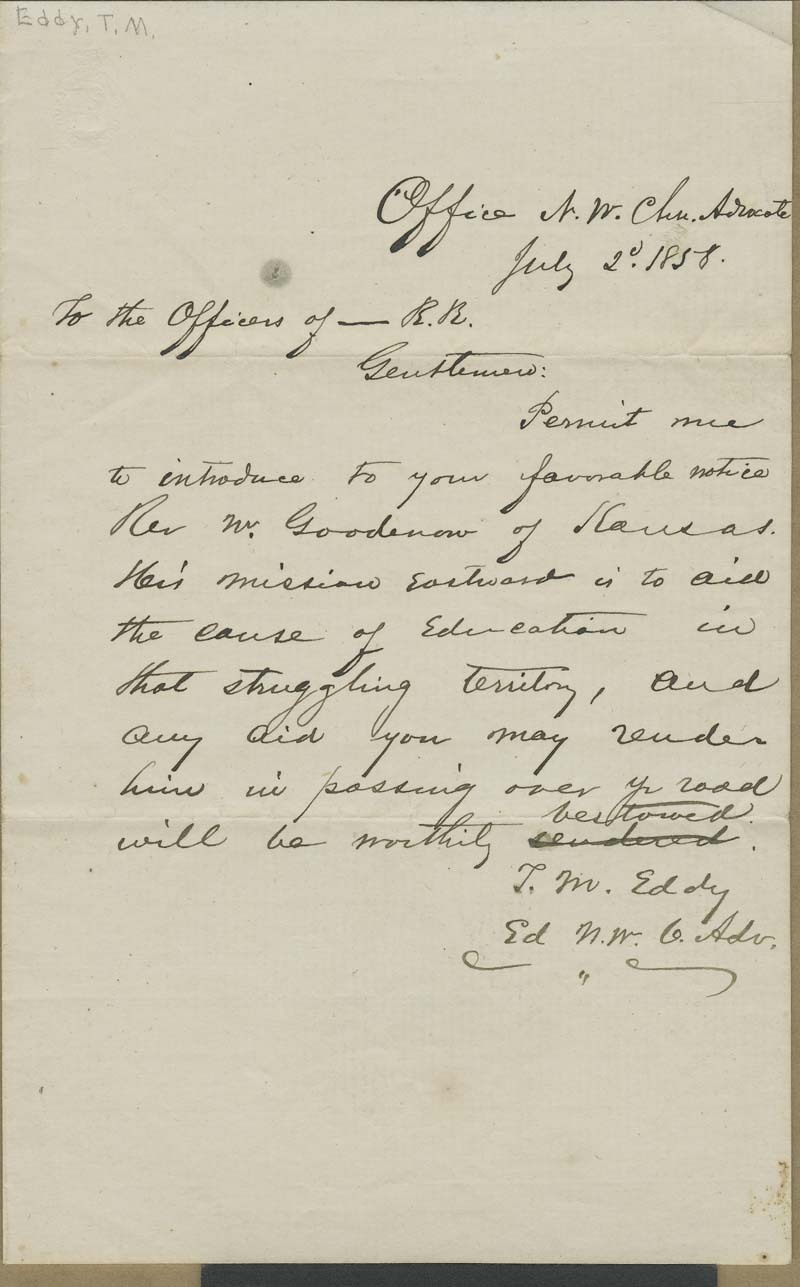 T. M. Eddy to the Officers of _____ R.R.