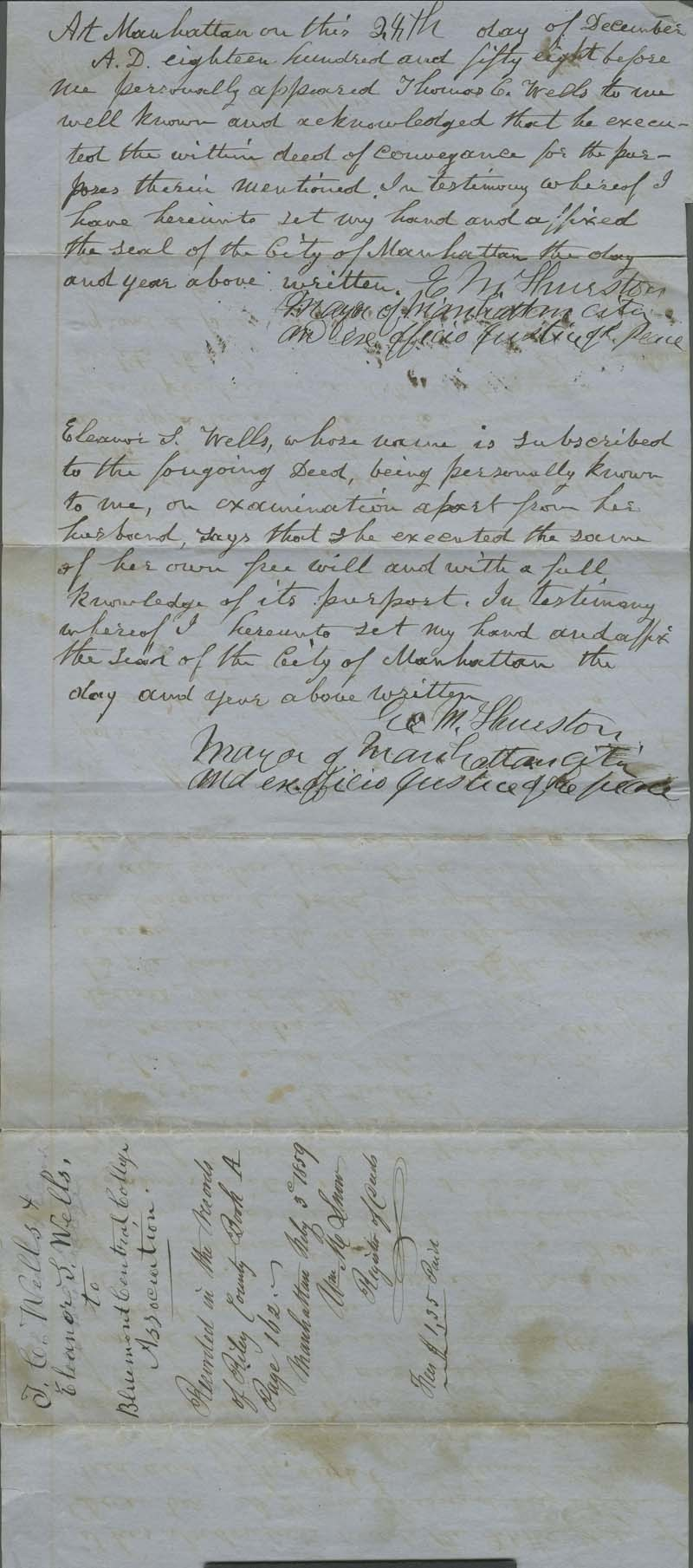 Indenture, purchase of town lots by Bluemont College Trustees - p. 2