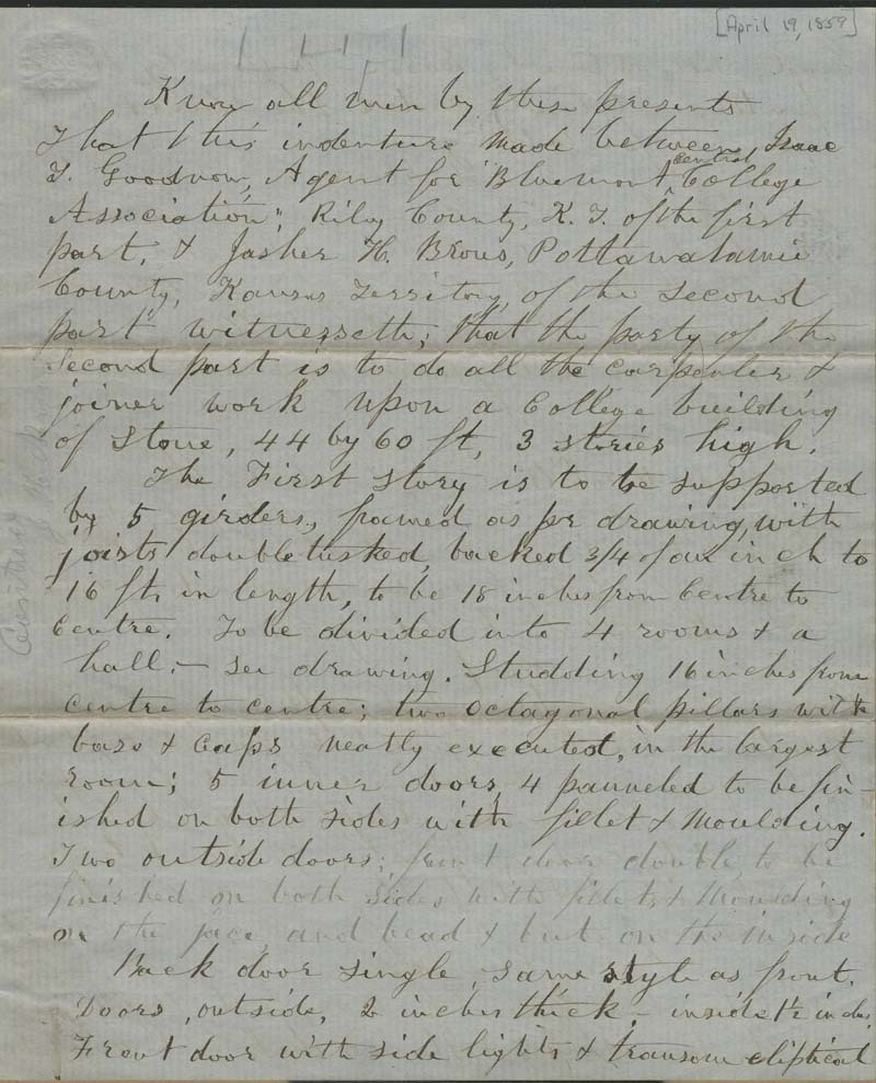 Isaac Tichenor Goodnow and Jasher H. Brous, contract for construction of building at Bluemont Central College - p. 1
