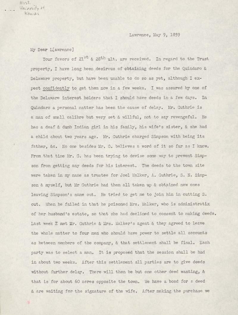 Charles Robinson to Amos Adams Lawrence - p. 1