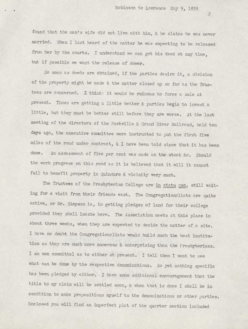 Charles Robinson to Amos Adams Lawrence - p. 2