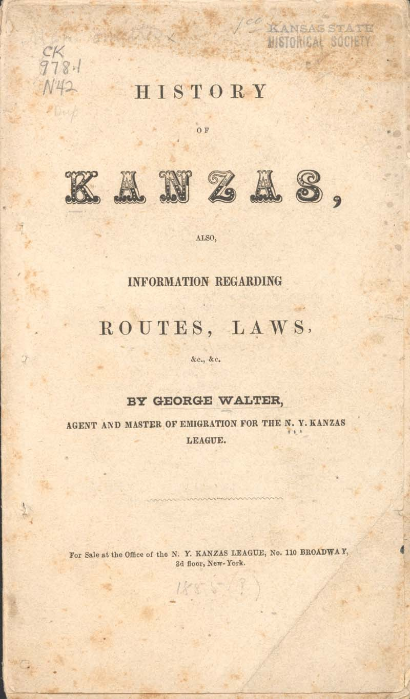 George Walter, History of Kanzas - p. 1