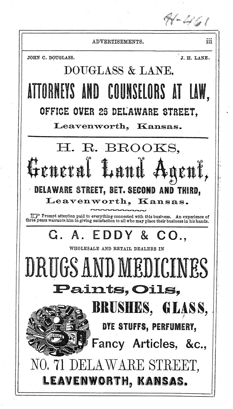Leavenworth City Directory, and Business Mirror for 1859-60 - p. 1