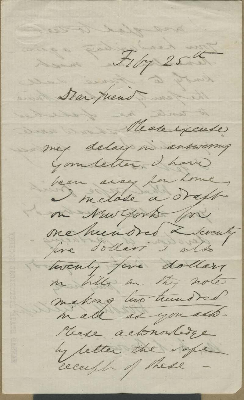 Wendell Phillips to Mary Brown - p. 1
