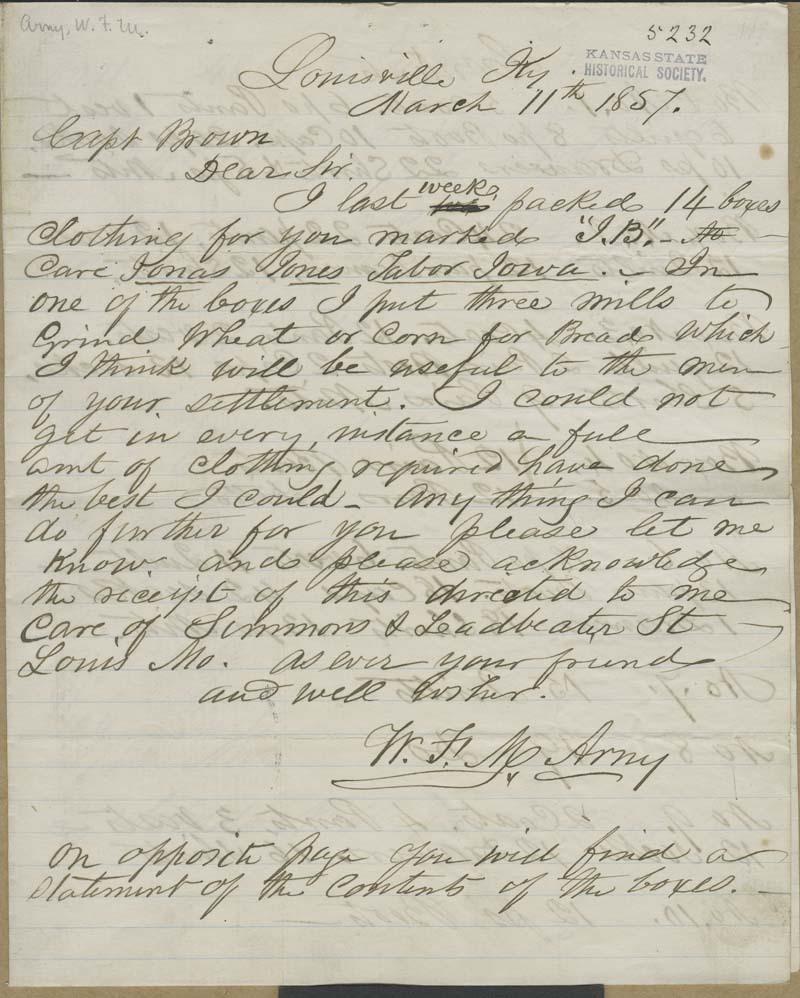 William Frederick Arny to John Brown - p. 1