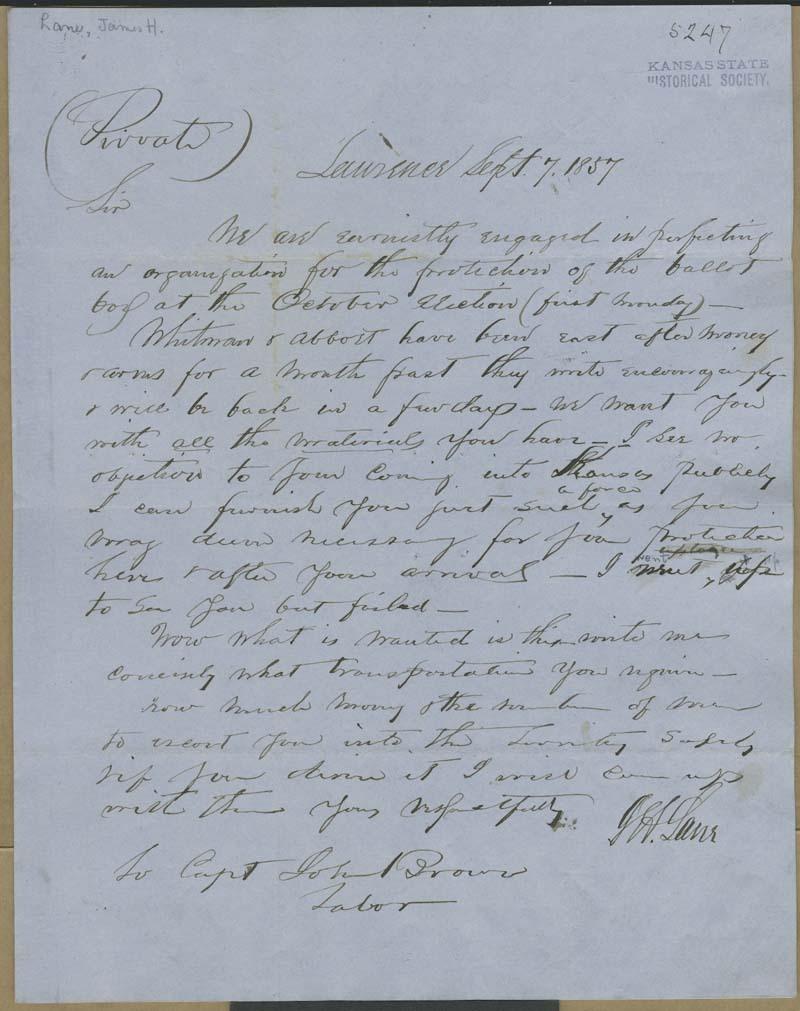 James Henry Lane to John Brown