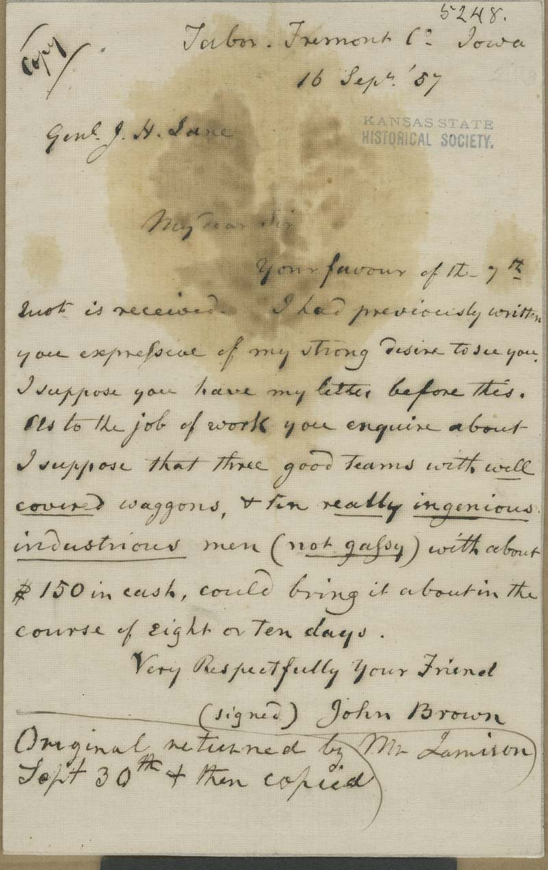 John Brown to James Henry Lane - p. 1