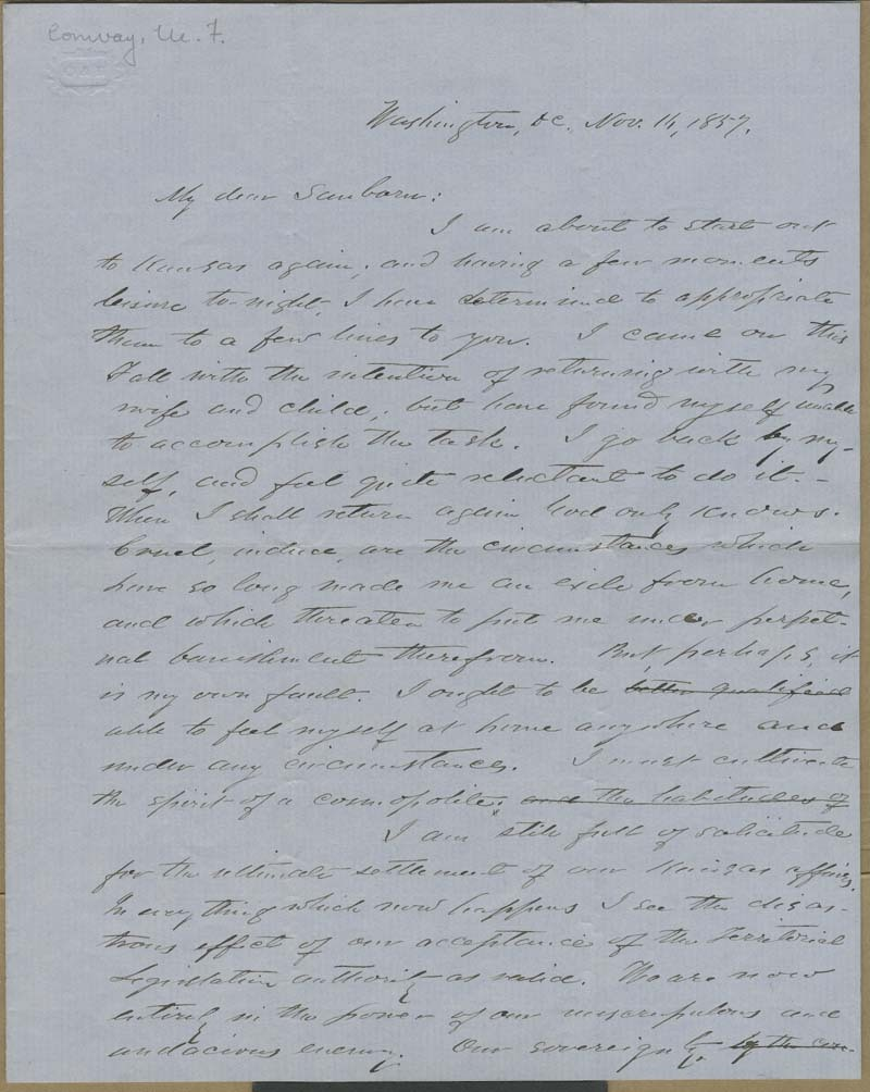 Martin Franklin Conway to Franklin B. Sanborn - p. 1