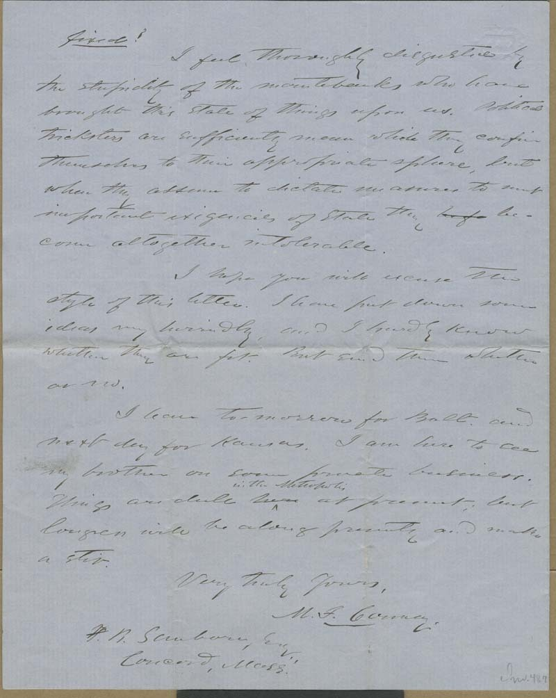 Martin Franklin Conway to Franklin B. Sanborn - p. 4