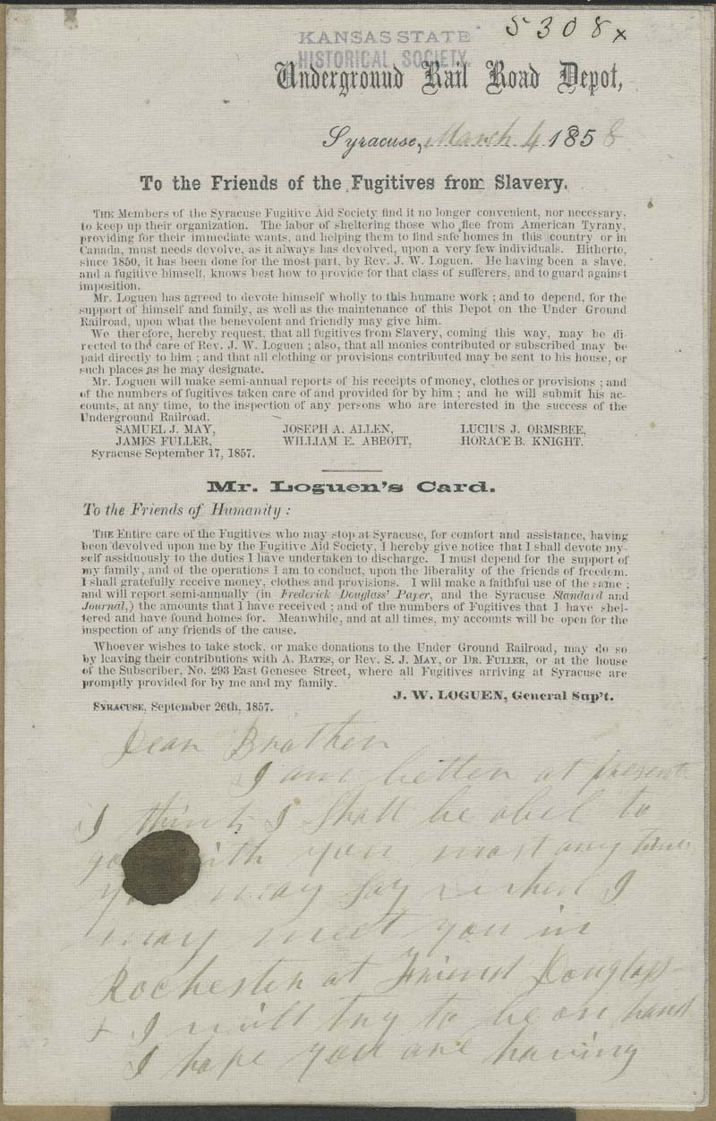 Circular Letter, Underground Rail Road Depot, To the Friends of the Fugitives from Slavery - p. 1