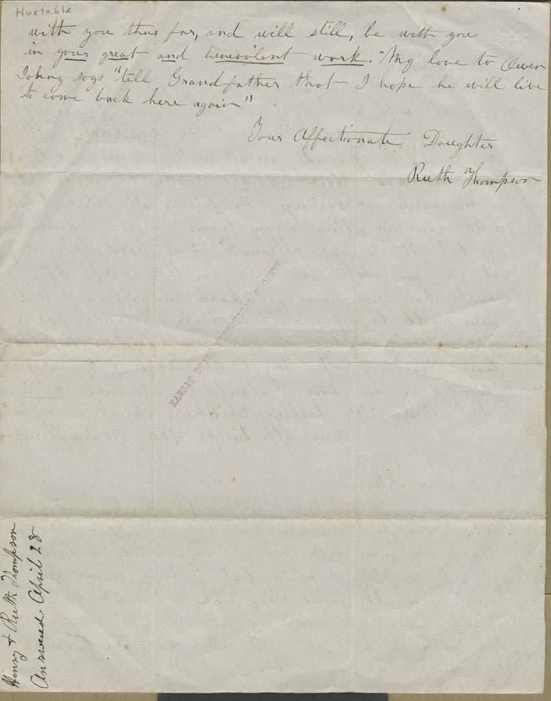 Henry Thompson and Ruth Brown Thompson to John Brown - p. 2