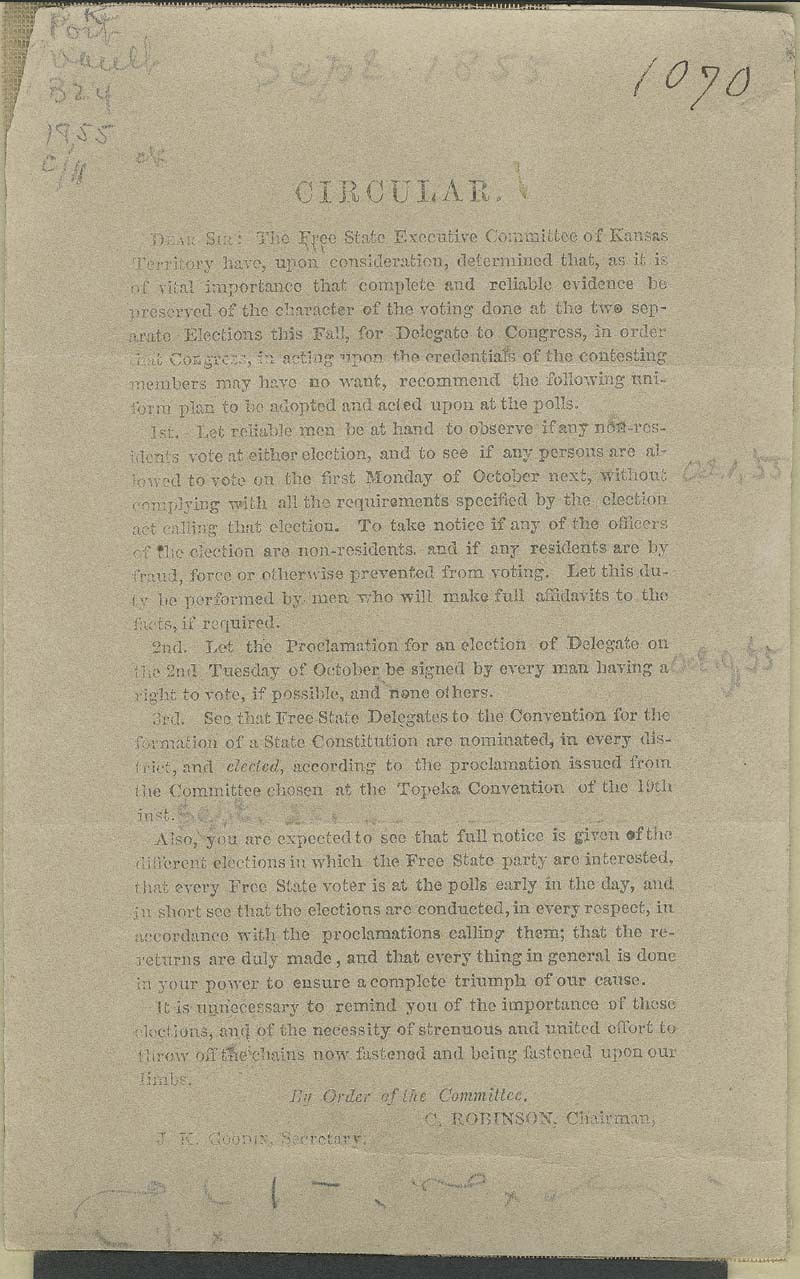 Charles Robinson circular for the Free State Executive Committee