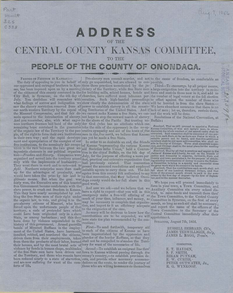 Central County Kansas Committee to the People of the county of Onondaga, New York