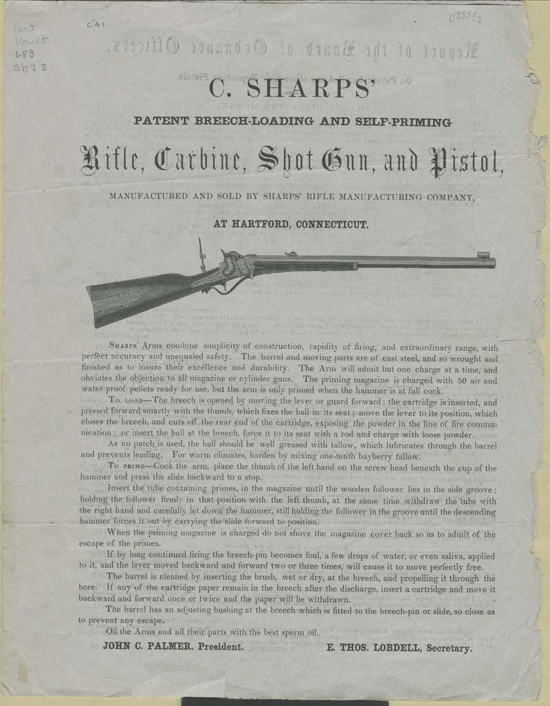 Sharps' Rifle Manufacturing Company, Advertisement - p. 1
