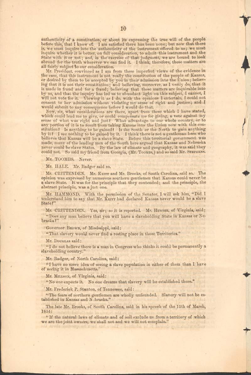 John Jordan Crittenden, speech on the Admission of the State of Kansas - p. 10