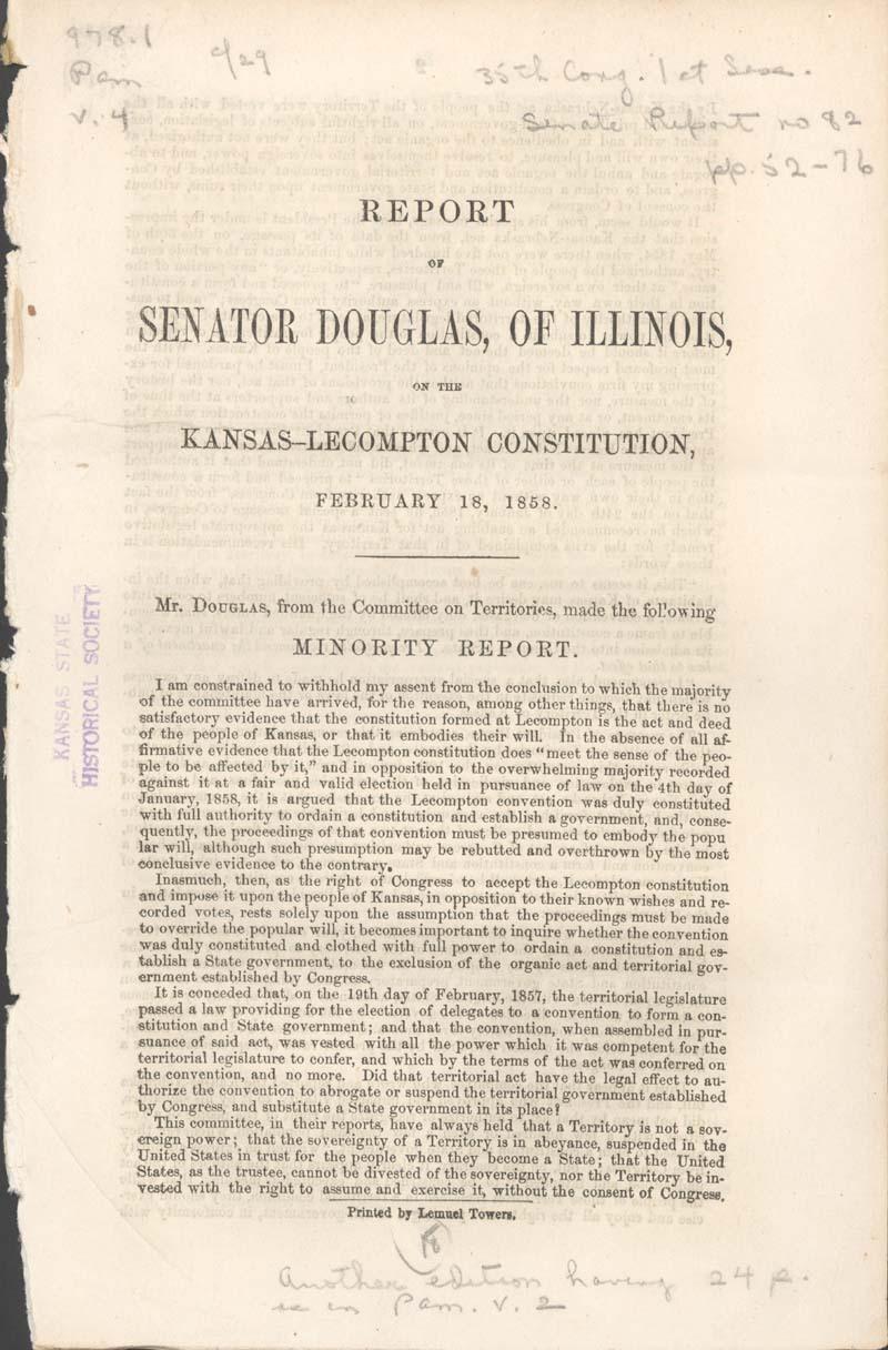 Stephen Arnold Douglas, minority report on the Kansas-Lecompton Constitution - p. 1