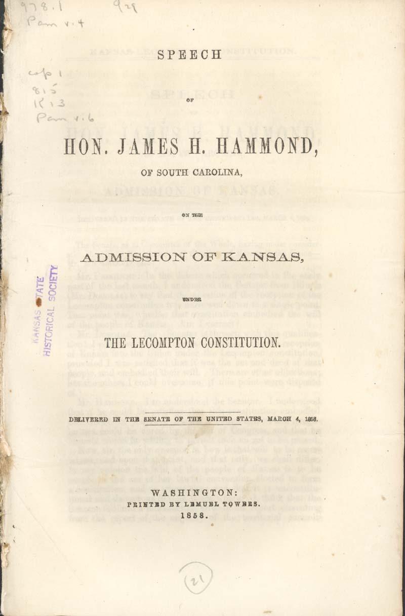 James Henry Hammond of South Carolina, speech - p. 1