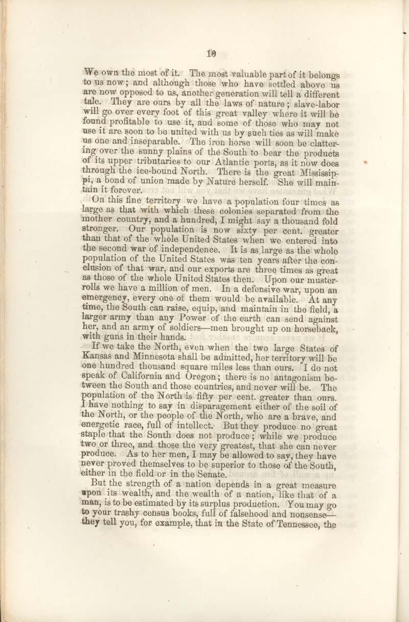 James Henry Hammond of South Carolina, speech - p. 10