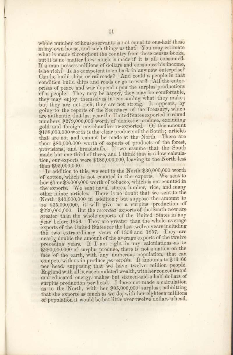 James Henry Hammond of South Carolina, speech - p. 11