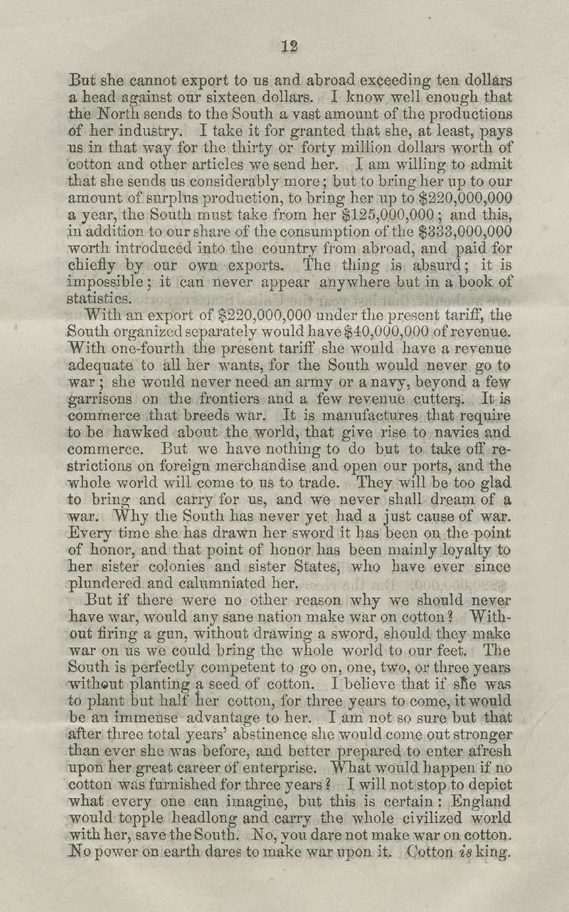 James Henry Hammond of South Carolina, speech - p. 12
