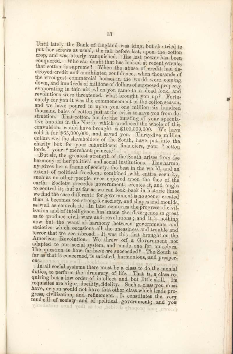 James Henry Hammond of South Carolina, speech - p. 13