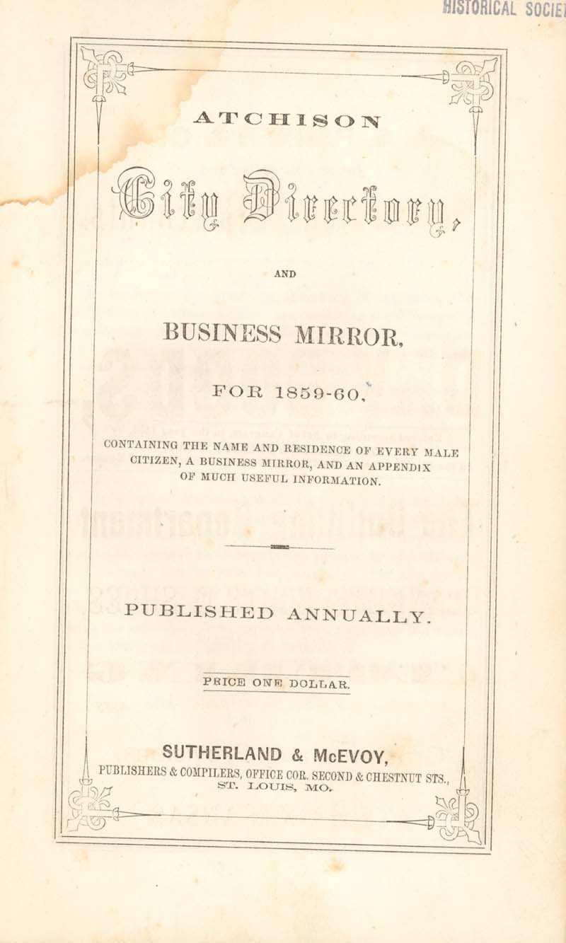 Atchison city directory and business mirror for 1859-60 - 7