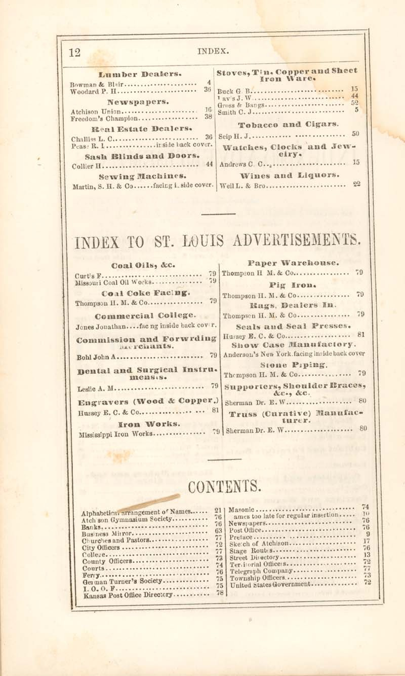 Atchison city directory and business mirror for 1859-60 - 12