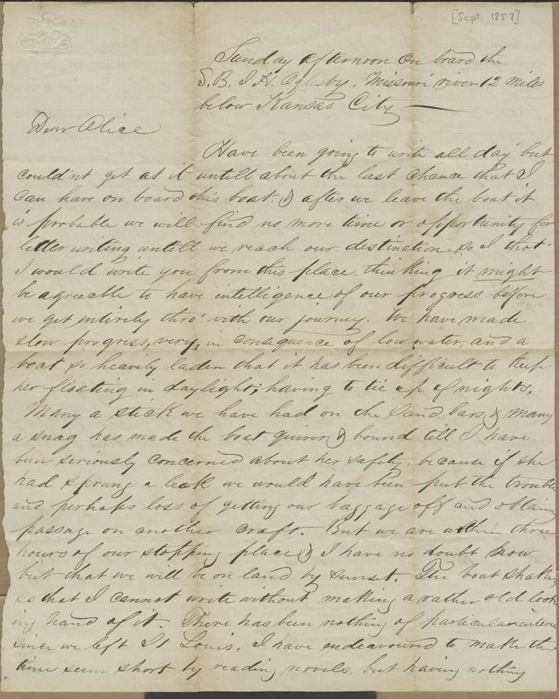 Joseph Harrington Trego to Alice Trego - p. 1