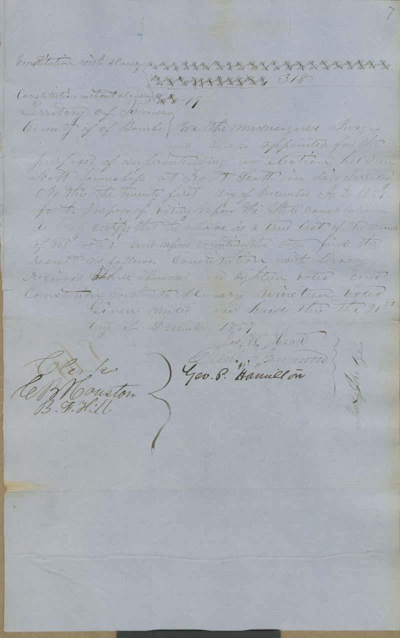 Fort Scott Precinct, Bourbon County, Kansas Territory, Election Returns and Ballots - p. 8