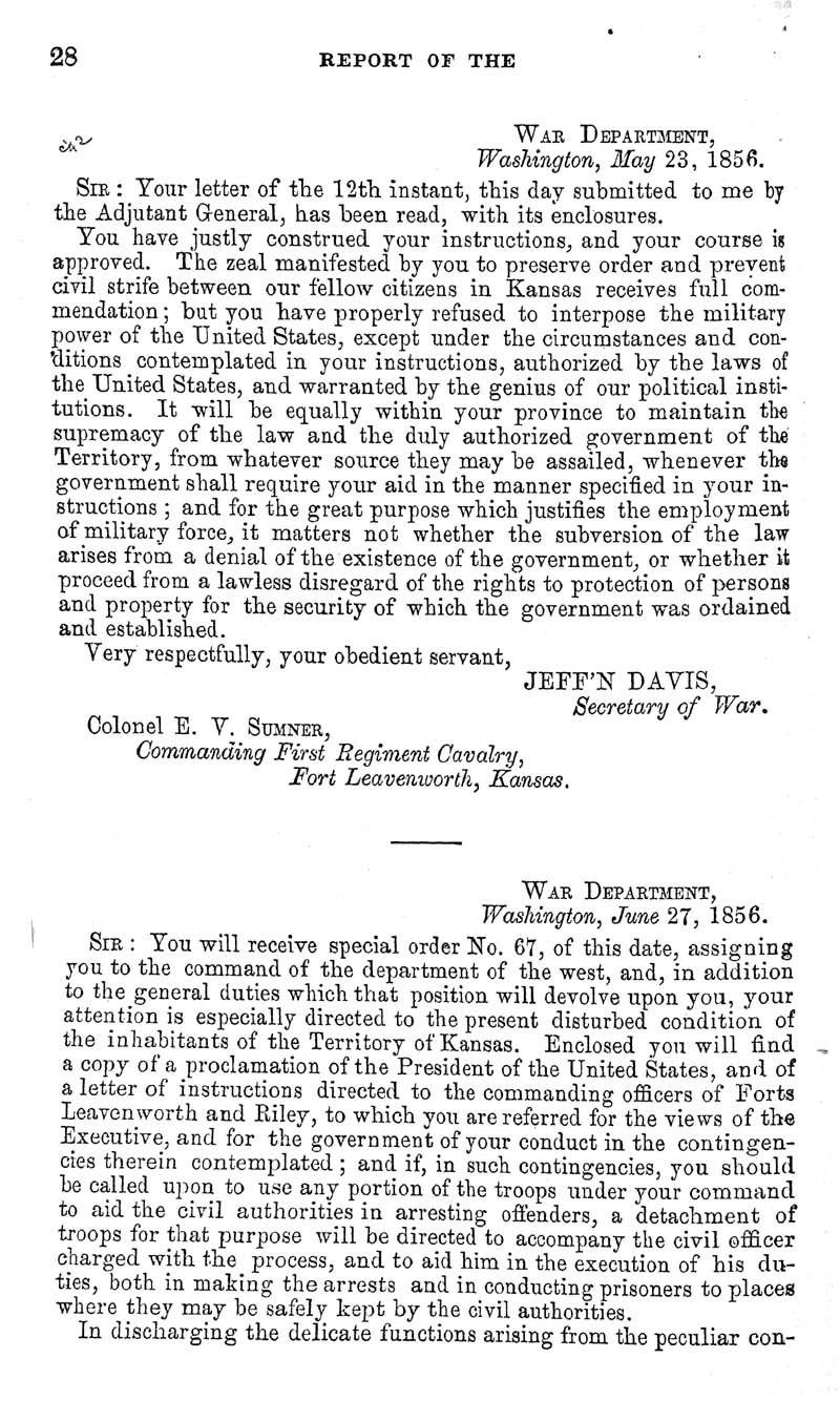Jefferson Davis, Secretary of War; report - p. 2