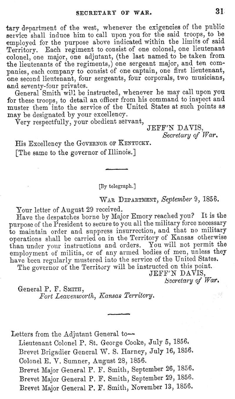 Jefferson Davis, Secretary of War; report - p. 5