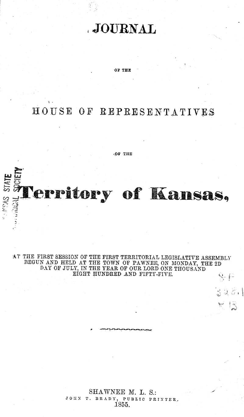 Journal of the House of Representatives of the Territory of Kansas - p. 1