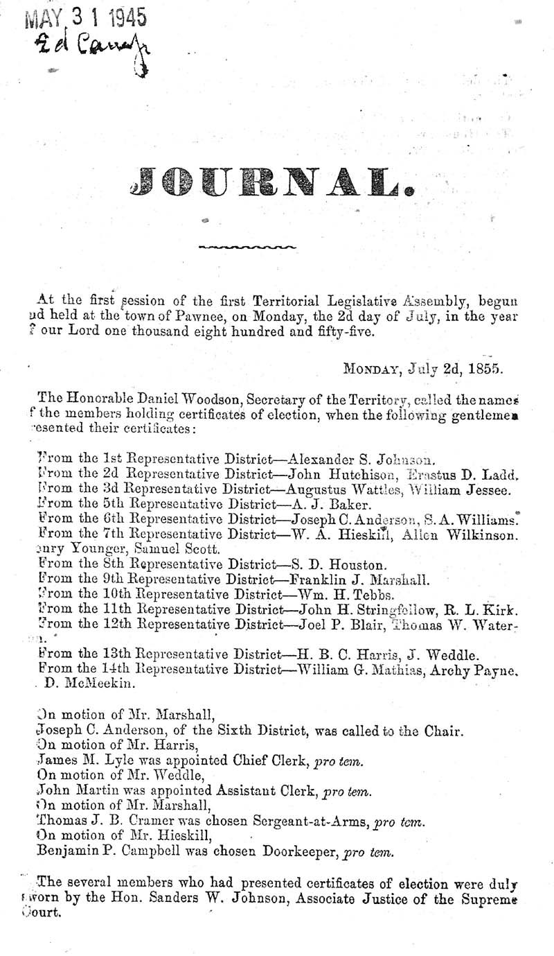 Journal of the House of Representatives of the Territory of Kansas - p. 2