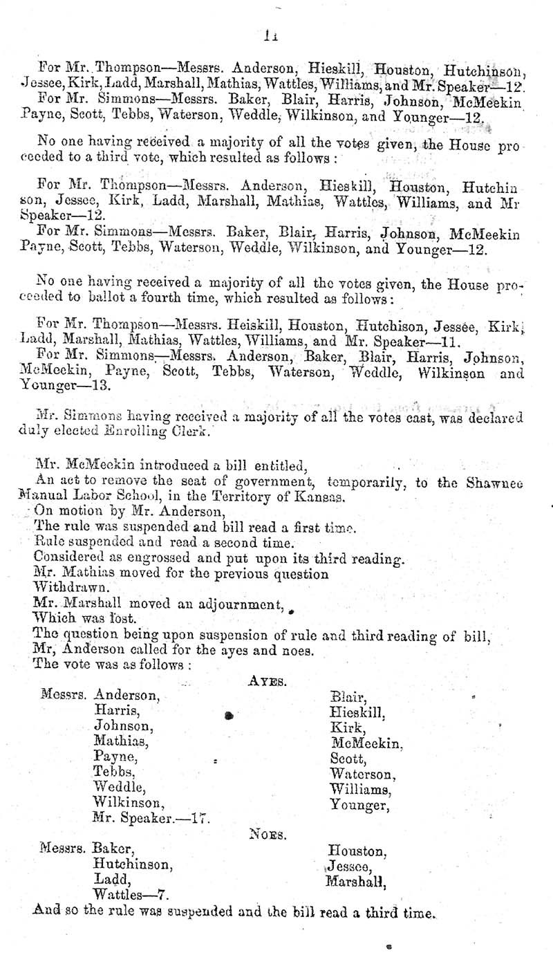 Journal of the House of Representatives of the Territory of Kansas - p. 10