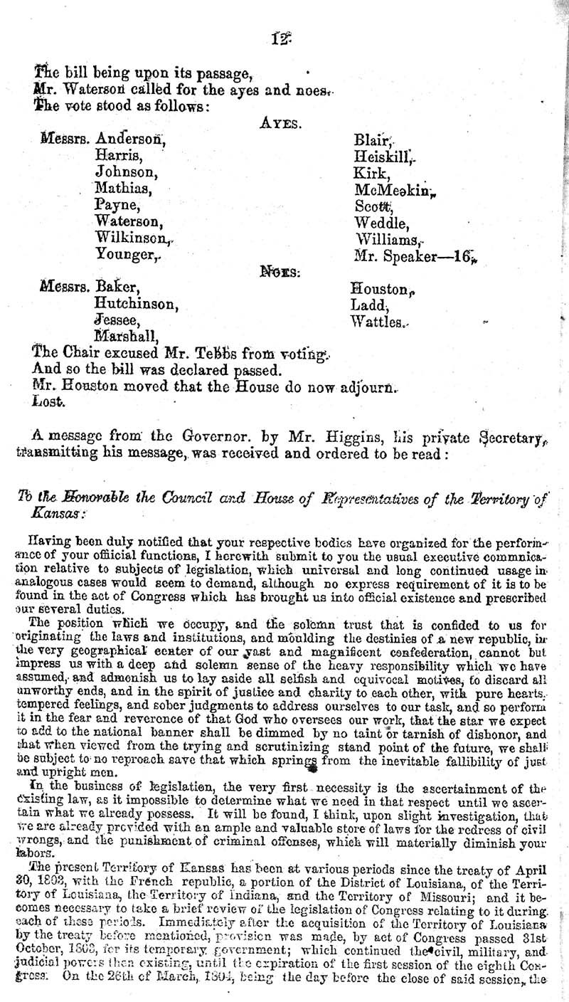 Journal of the House of Representatives of the Territory of Kansas - p. 11