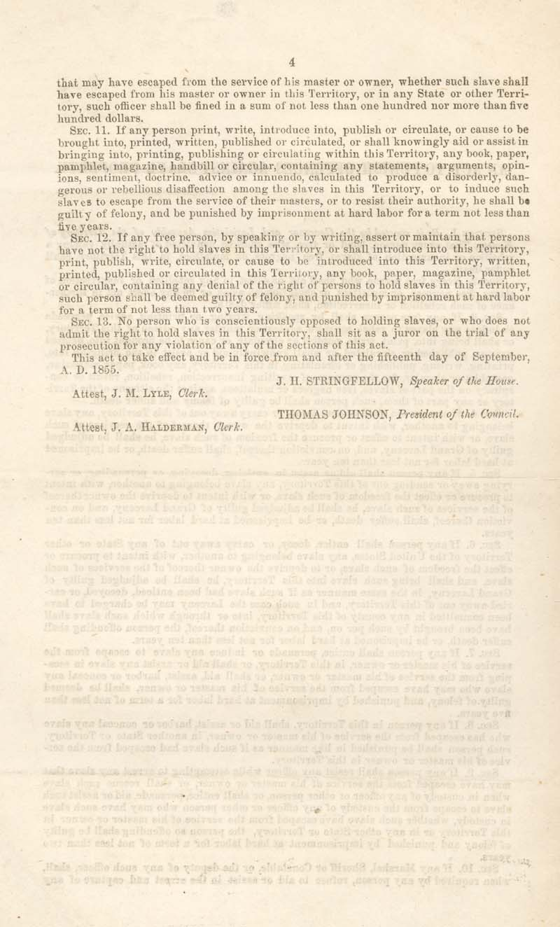 Kansas Legislature : An Act to Punish Offences Against Slave Property, 1855 - p. 4