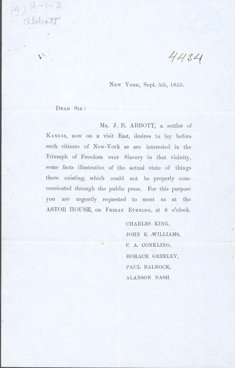 Invitation to James Abbott's 1855 New York presentation
